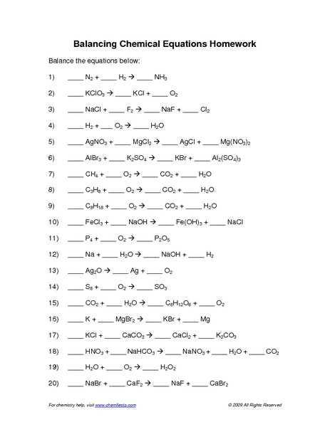 Balancing Chemical Equations Worksheet 1 Along with Balancing Chemical Equations Worksheet Answers Balancing Chemical