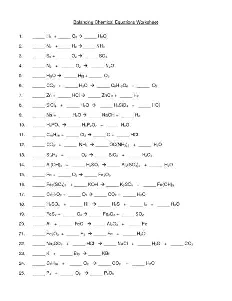 Balancing Chemical Equations Worksheet 1 and Balancing Chemical Equation Worksheet Balancing Equations Worksheet
