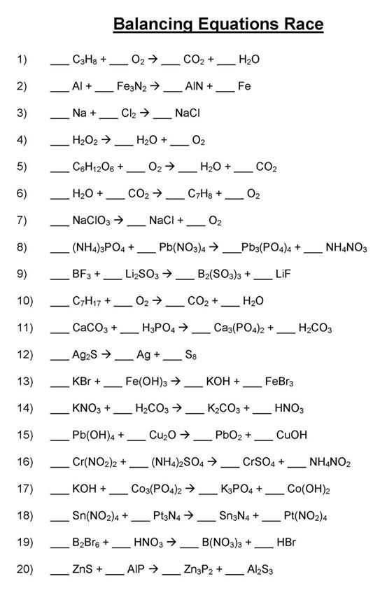 Balancing Chemical Equations Worksheet 1 or Balancing Chemical Equations Worksheet Balancing Chemical Equations