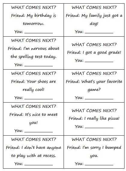 Basic Conversation Skills Worksheets Also Free social What Es Next Great for Practicing social Skills and