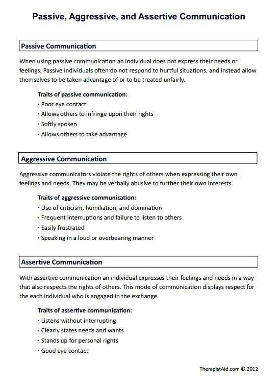 Basic Conversation Skills Worksheets Also Passive Aggressive and assertive Munication Preview