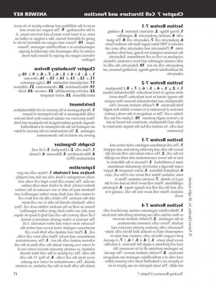 Cell Structure and Processes Worksheet Answers Along with Chapter 4 Cell Structure and Function Worksheet Answers New Plant
