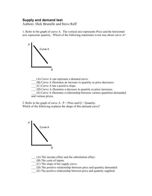 Changes In Supply Worksheet Answers and Demand Worksheet Economics Answers Kidz Activities