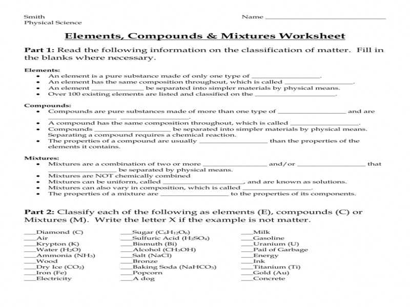Chemistry Worksheet Types Of Mixtures Answers Along with Elements Pounds and Mixtures Worksheet Part 2 Kidz Activities