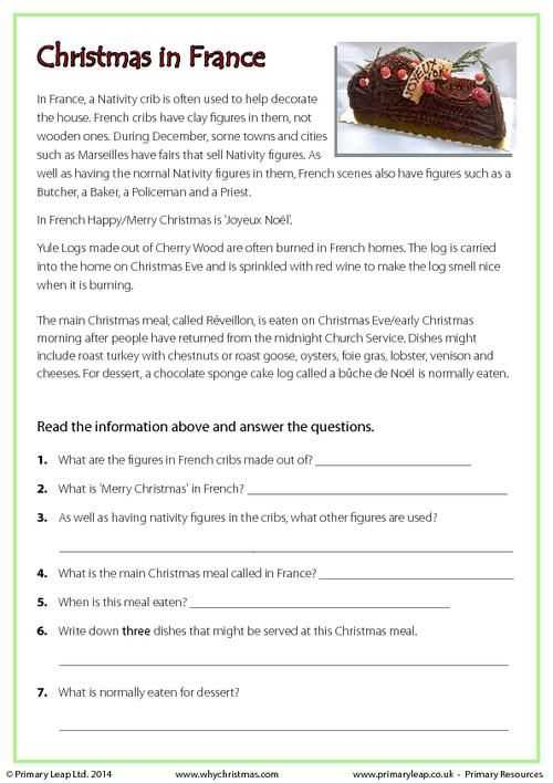 Christmas Around the World Worksheets together with Primaryleap Reading Prehension Christmas In France