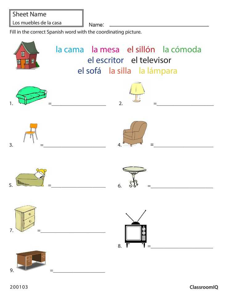 Classroom Objects In Spanish Worksheet Free together with 27 Best Spanish Worksheets Level 1 Images On Pinterest
