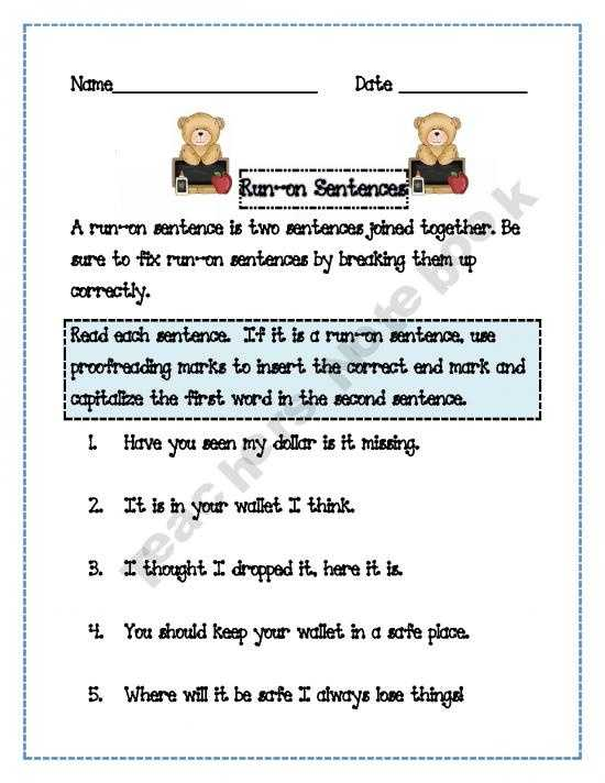 Correcting Run On Sentences Worksheets Also 32 Best Fragments Run Ons Images On Pinterest