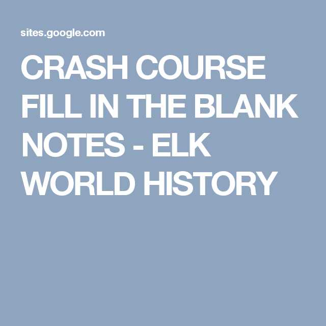 Crash Course World History Worksheets together with Crash Course Fill In the Blank Notes Elk World History