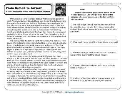Cross Curricular Reading Comprehension Worksheets and From Nomad to Farmer