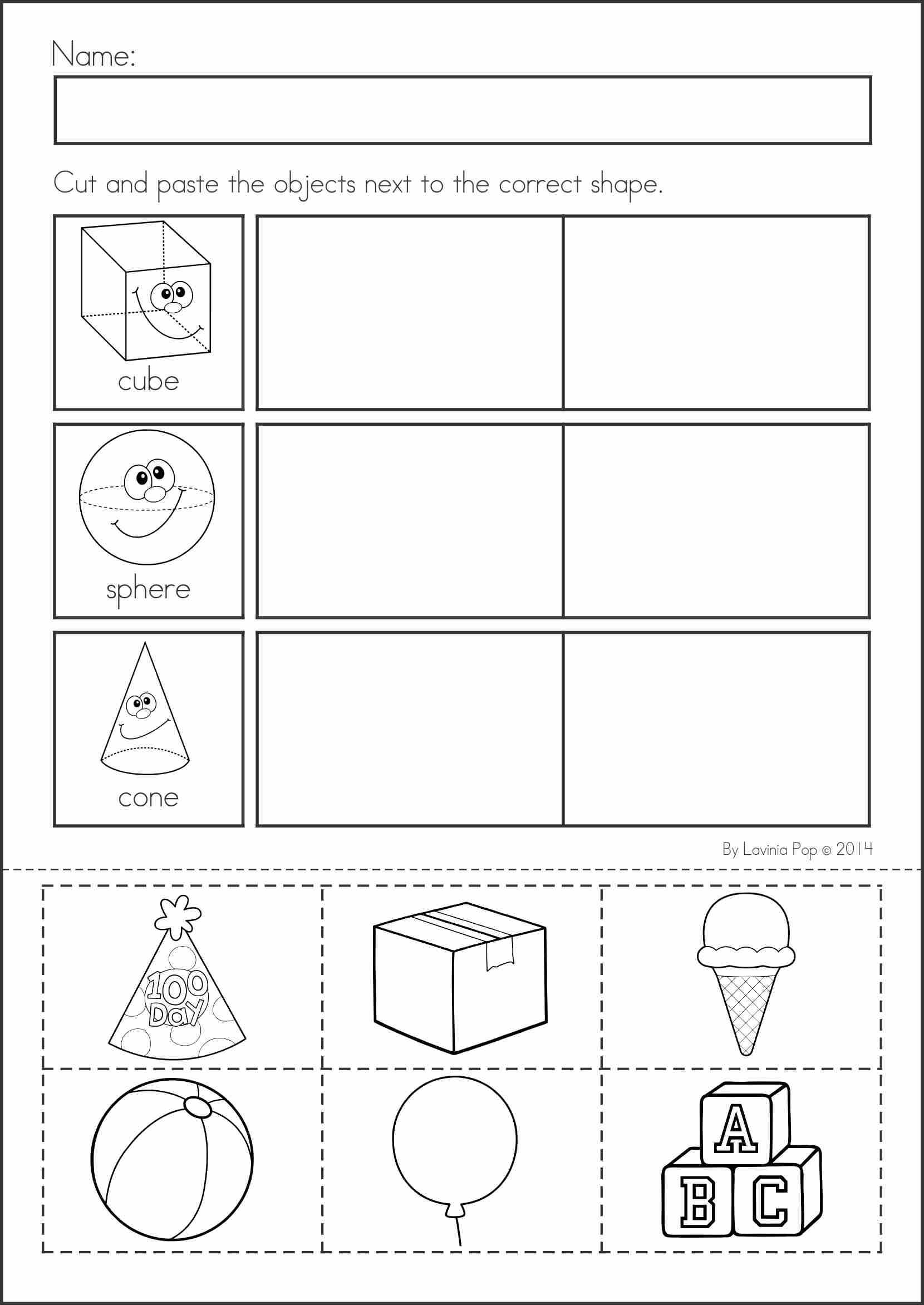 Cut and Paste Worksheets for Kindergarten and Free Printable Shapes Worksheets for Kindergartenol Gifolers