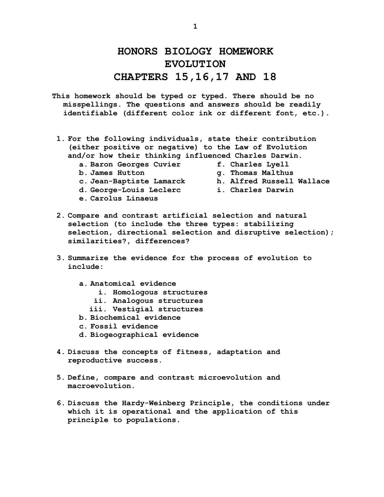Speciation Worksheet Anwsers