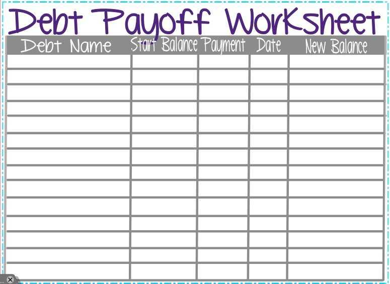 Debt Payoff Worksheet Pdf or Debt Payoff Worksheet Image Collections Worksheet Math for Kids