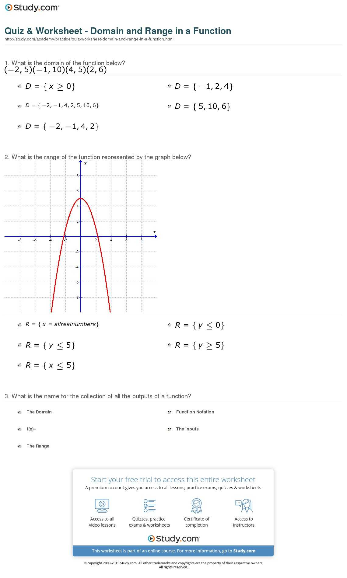 Function Math Worksheet