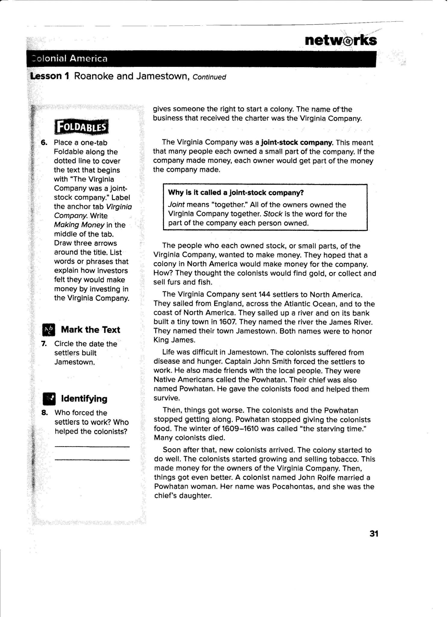 Early Jamestown Colony Worksheet Answer Key with Jamestown Worksheet Pdf