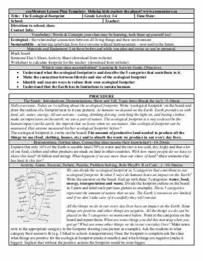 Ecological Footprint Worksheet Also the Ecological Footprint Grade 3 4 Ecomentors