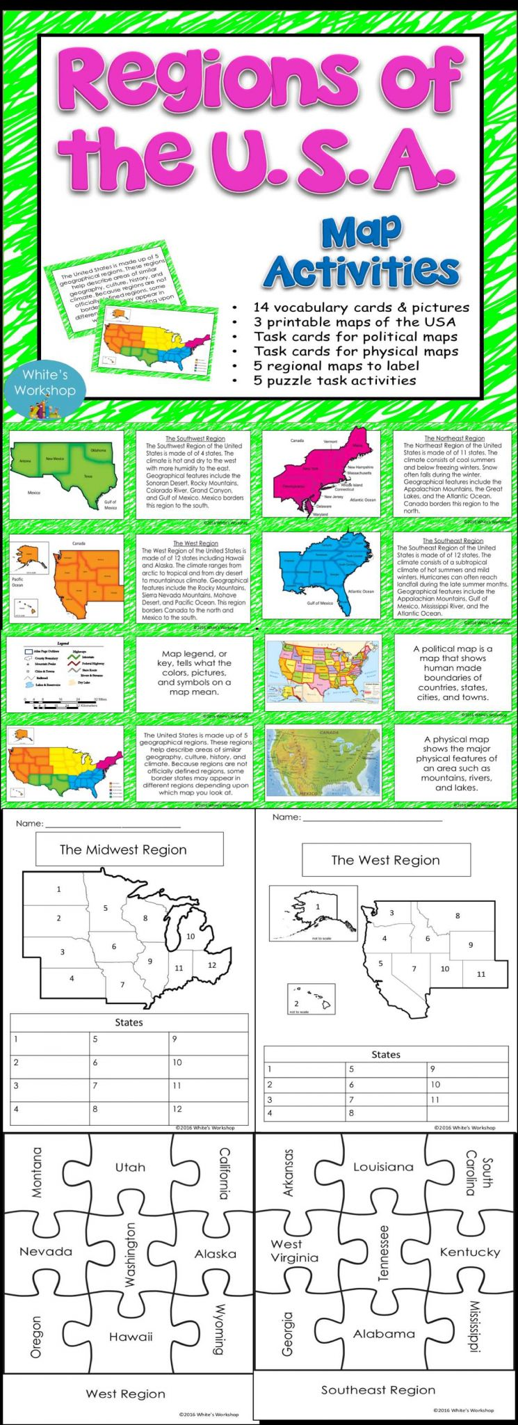 Elementary Teacher Worksheets together with Spookyhalloween Regions Of the U S Map Tasks and Activities