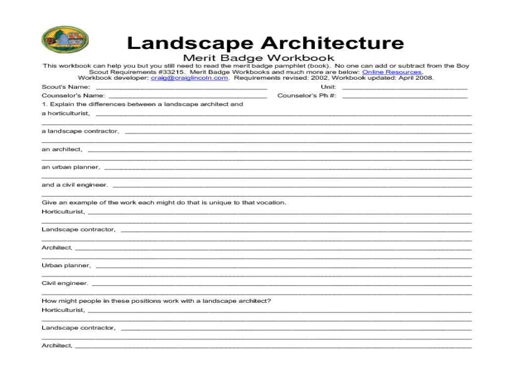 Employee Performance Improvement Plan Worksheet and New 20 Design for Landscape Architecture Merit Badge Workshe