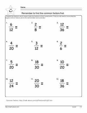Equivalent Fractions Worksheet 5th Grade with 9 Worksheets On Simplifying Fractions for 6th Graders