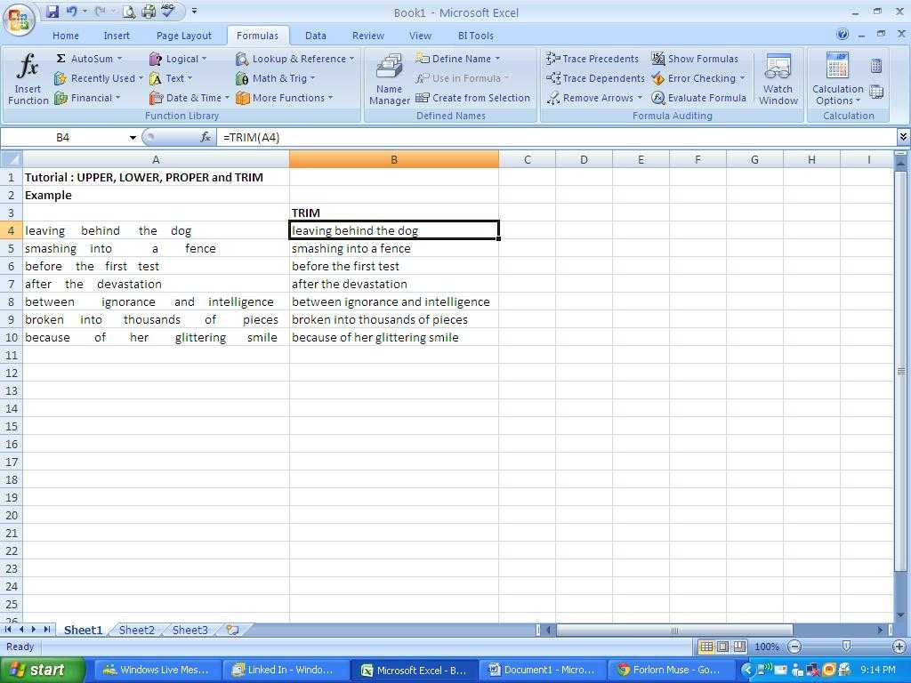 Excel Profit and Loss Worksheet Download Also Excel Tips Tutorial How to Use Trim Upper Lower and Prope