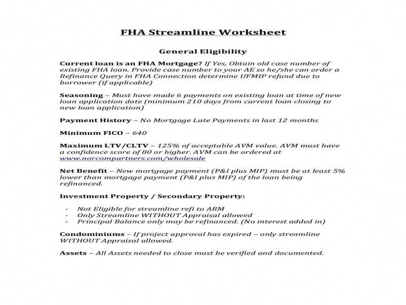 Fha Streamline Net Tangible Benefit Worksheet or Fha Streamline Refinance Worksheet
