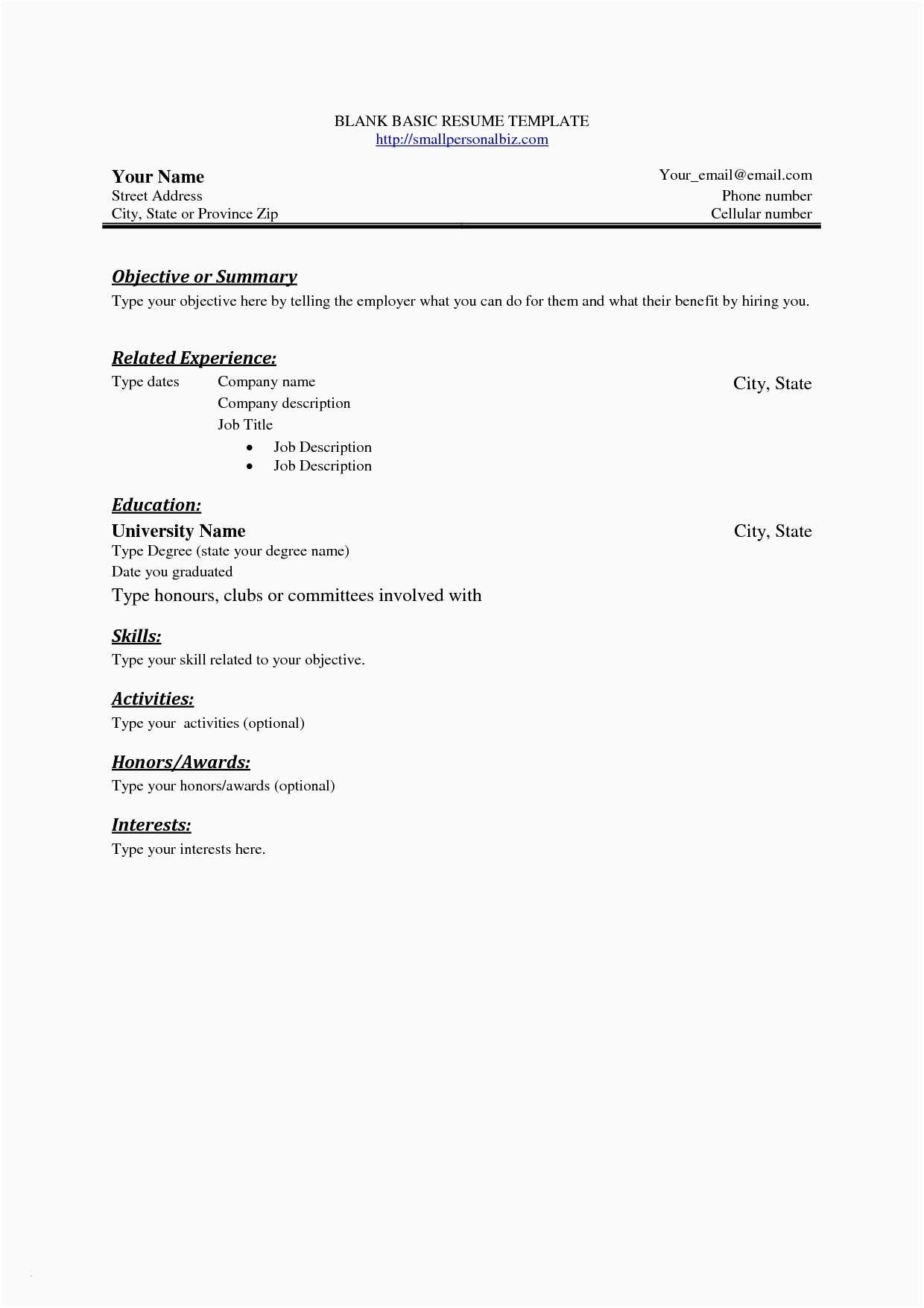 Fill In the Blank Resume Worksheet and Blank Simple Resume Template Sfonthebridge