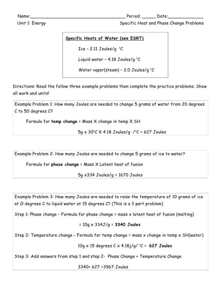 Force Practice Problems Worksheet Answers with Worksheet 3 Heat and Heat Calculations Kidz Activities