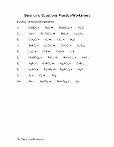 Force Practice Problems Worksheet Answers with Worksheets 44 Inspirational Balancing Equations Worksheet Answers