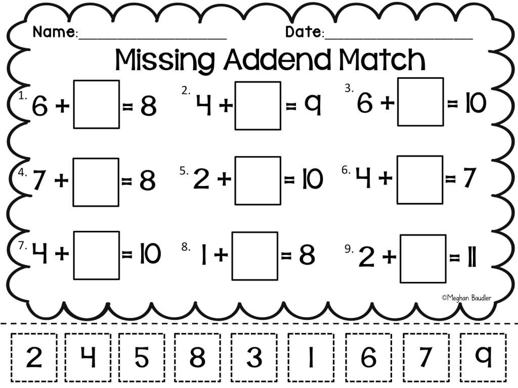 Free Contraction Worksheets and Grade Worksheet Missing Addend Worksheets First Grade Gras