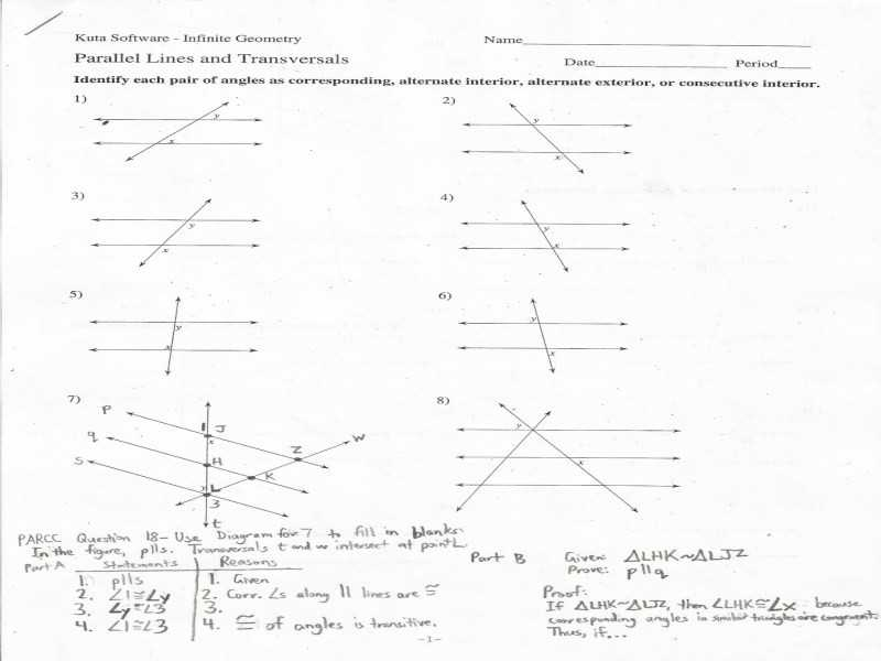 Geometry Parallel Lines Worksheet Answers or Geometry Parallel Lines and Transversals Worksheet Answers