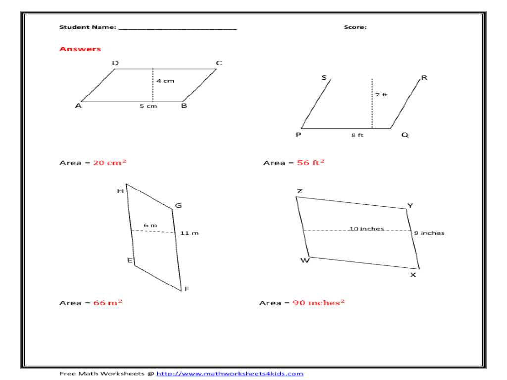 Geometry Worksheet Kites and Trapezoids Answers Key as Well as area Parallelogram Worksheet Worksheets for All Download