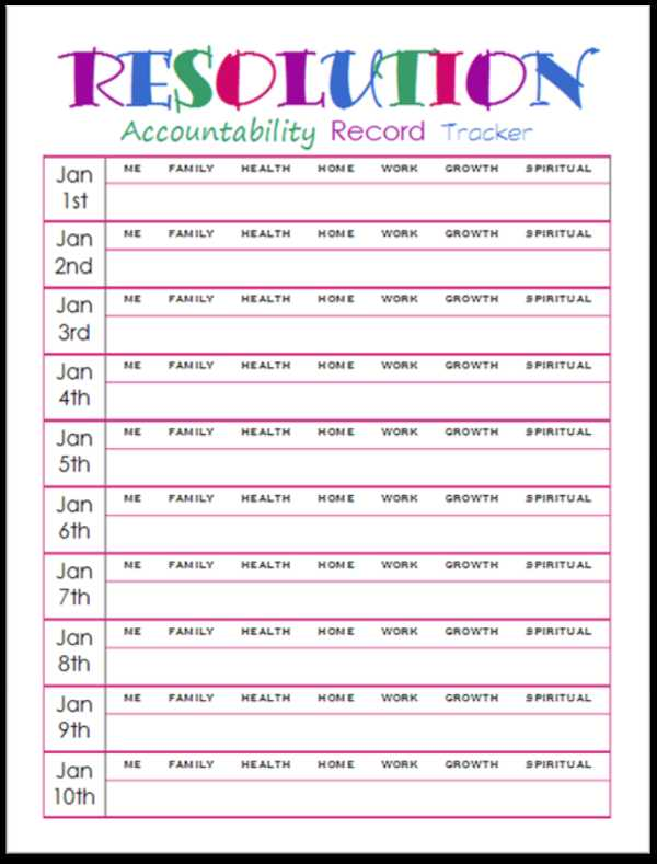 Goal Tracking Worksheet and New Years Resolutions Accountability Record Tracker Printable