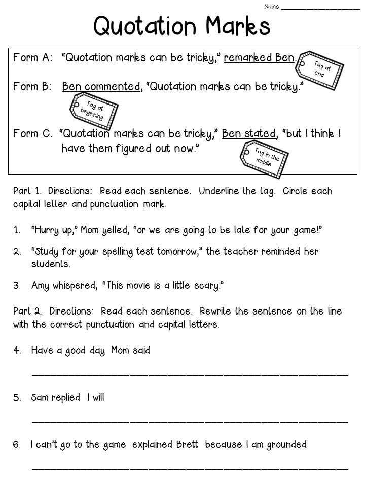 Grammar and Punctuation Worksheets and Quotation Marks Anchor Chart with Freebie