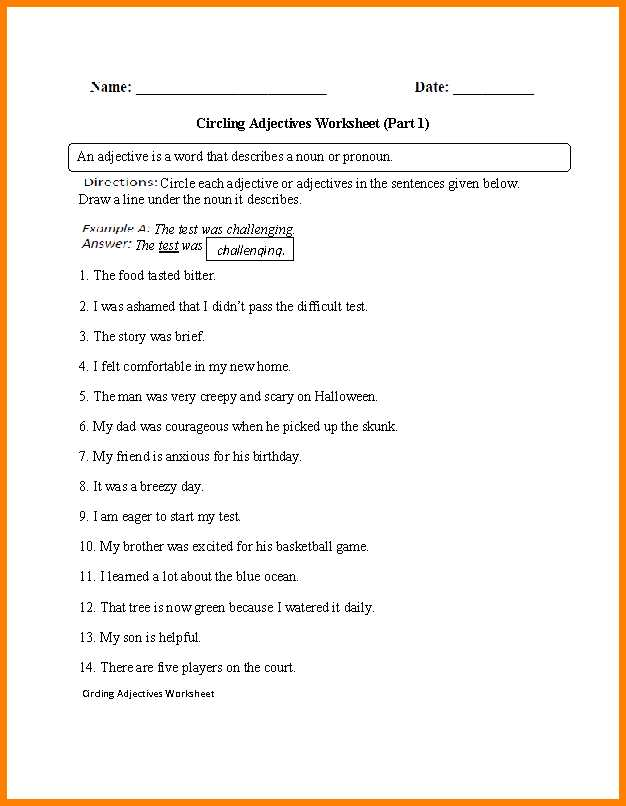 Identifying Adverbs Worksheet Along with Worksheet Identifying Adjectives Kidz Activities