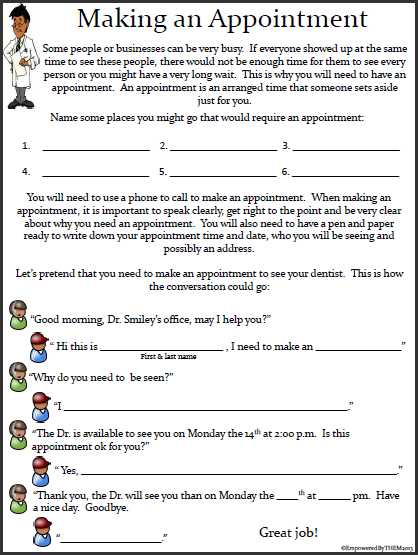 Independent Living Skills Worksheets as Well as Makingappointment Png 418—555 Pixels