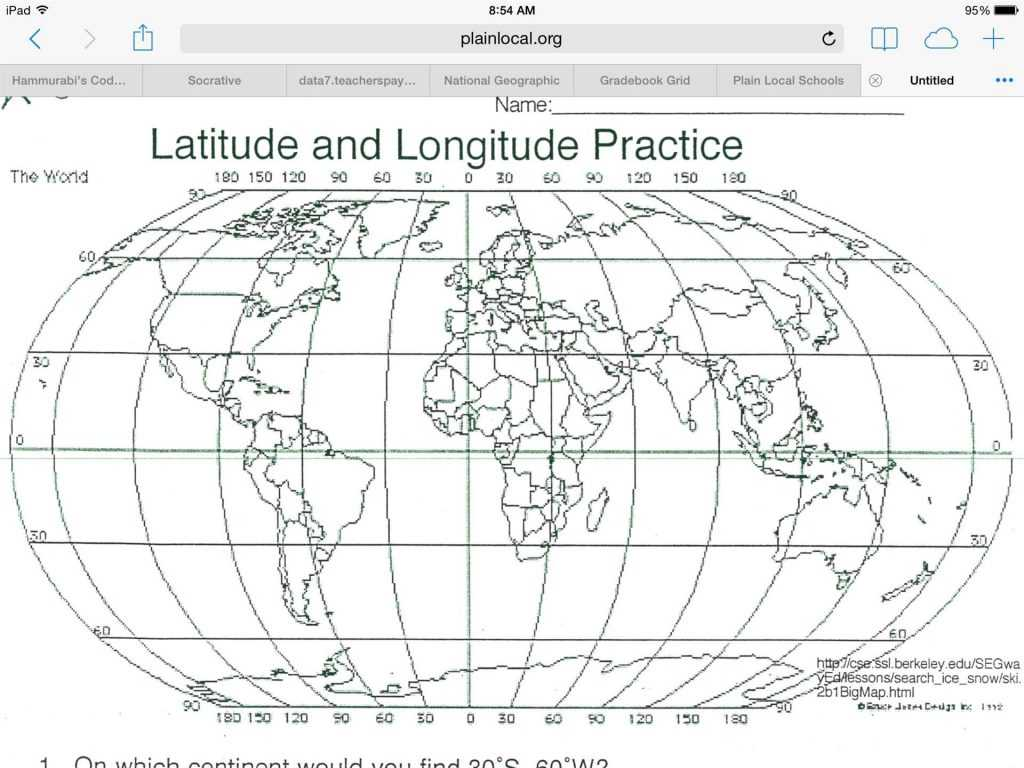 Latitude and Longitude Practice Worksheets or Free Latitude and Longitude Worksheets Others Fre