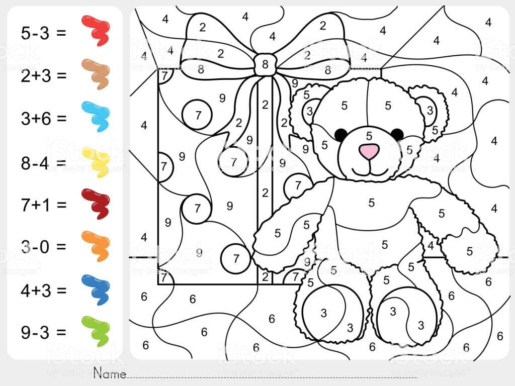 Learning Colors Worksheets with Paint Color by Numbers Addition and Subtraction Worksheet Fo