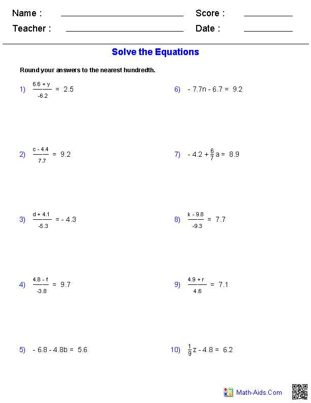 Linear Equations Worksheet as Well as Worksheet Works solving Two Step Equations Answers aslitherair