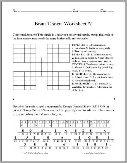 Math Brain Teasers Worksheets Along with Free Math Brain Teasers Worksheets Lovely Brain Teaser Worksheets