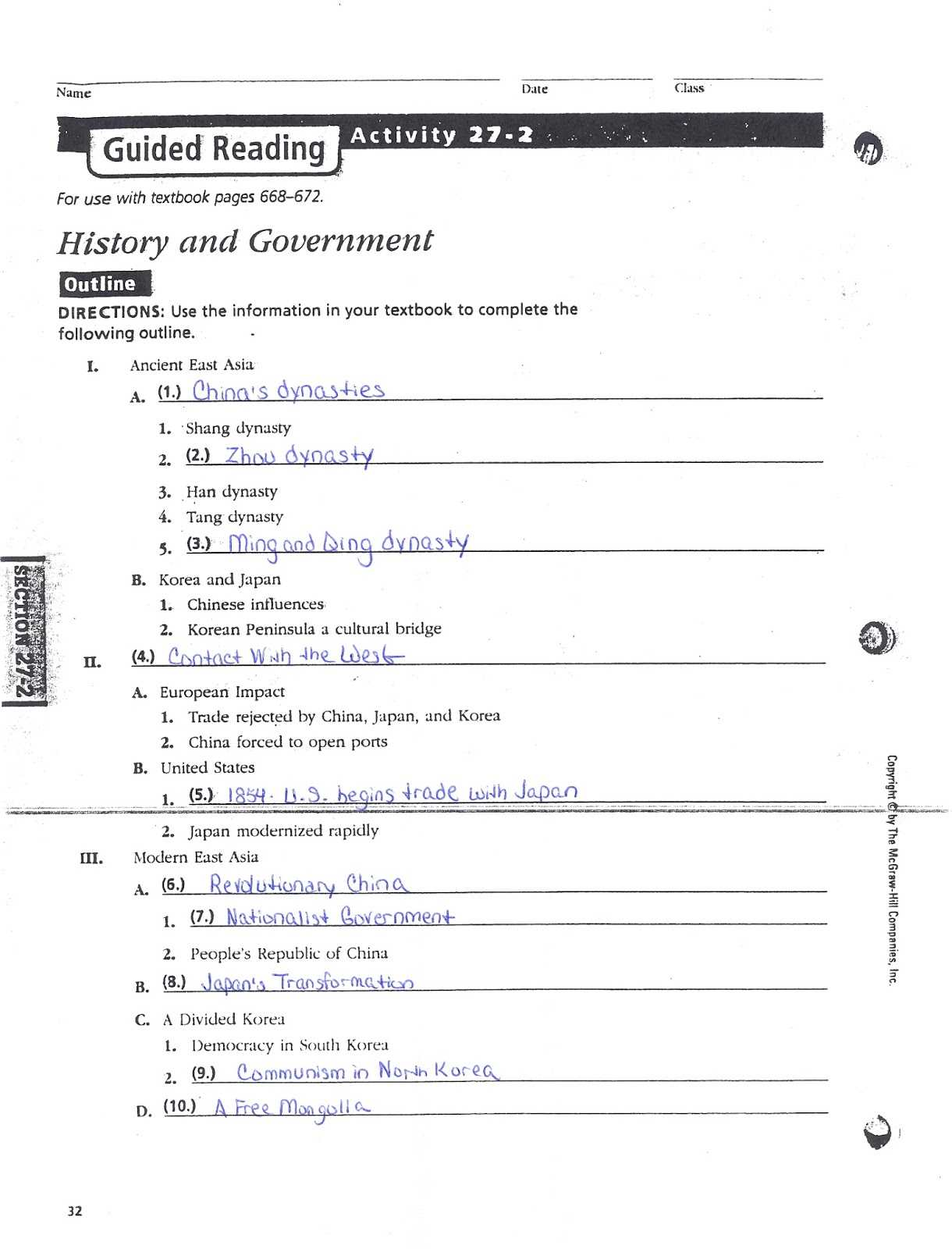 Mcgraw Hill Networks World History and Geography Worksheet Answers or Mcgraw Hill World Geography Worksheet Answers Worksheet for