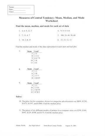 Mean Median Mode Word Problems Worksheets Pdf Also Central Tendency Worksheets Kidz Activities
