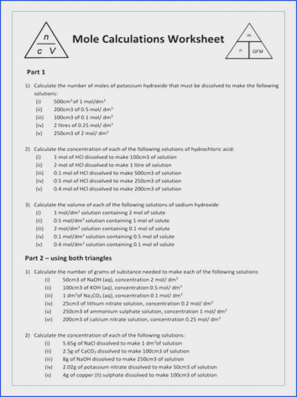 Mole Calculation Worksheet together with Mole Calculation Worksheet Answers