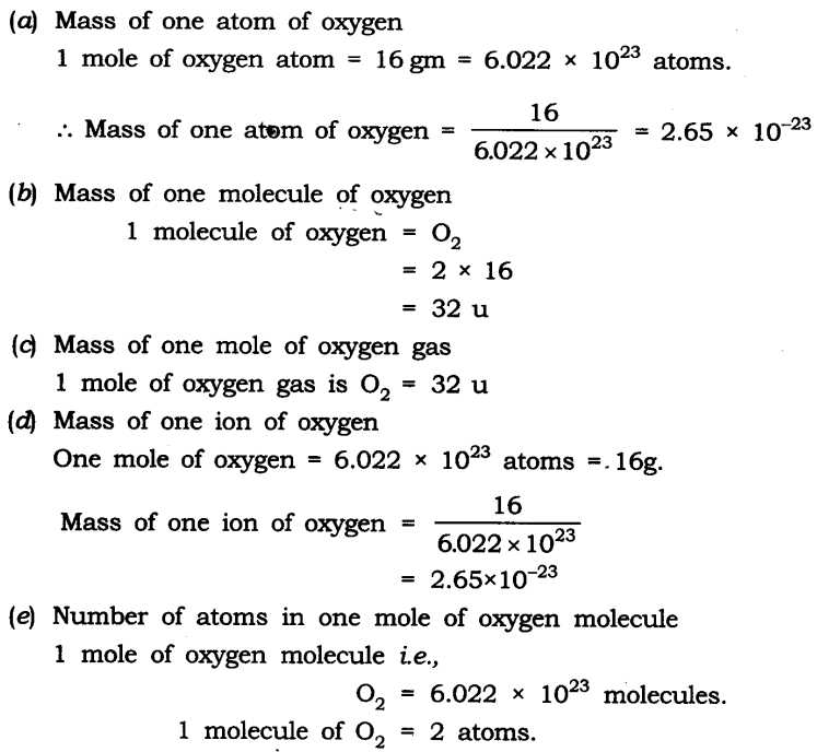Mole Mass and Particle Conversion Worksheet Also Ncert solutions for Class 9 Science atoms and Molecules