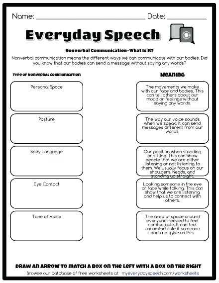 Nonverbal Communication Worksheet Answers and social Skills Worksheets Nonverbal Munication What is It social
