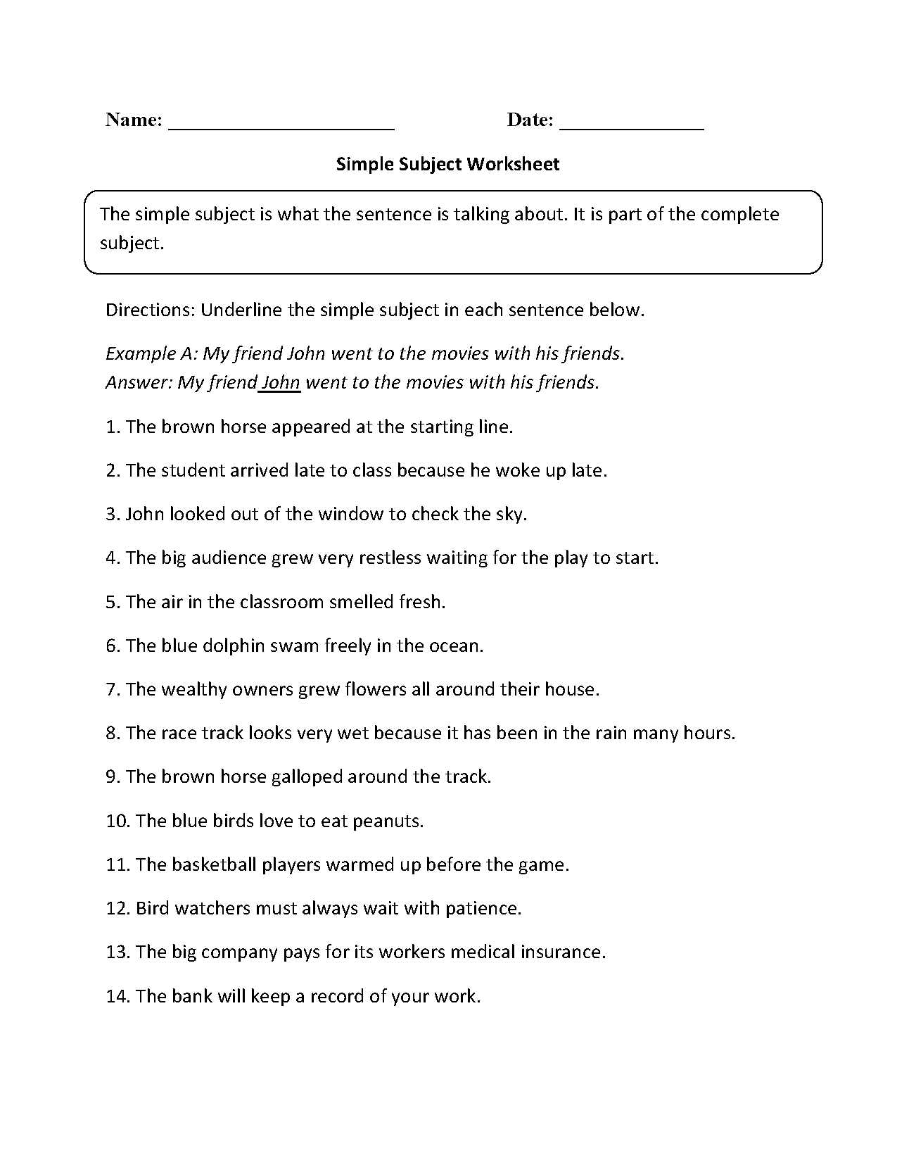 Poetry Worksheet 1 and Simple Subject Worksheet Englishlinx Board