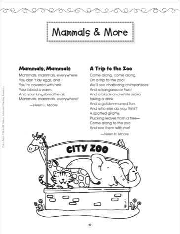 Poetry Worksheets Printable or Mammals & More Pick A Poem Scholastic Printables