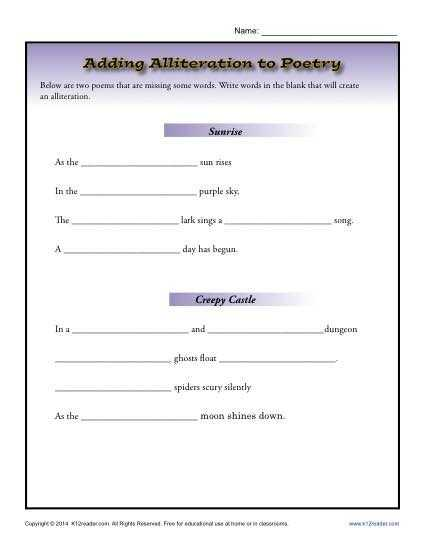 Poetry Worksheets Printable with Adding Alliteration to Poetry
