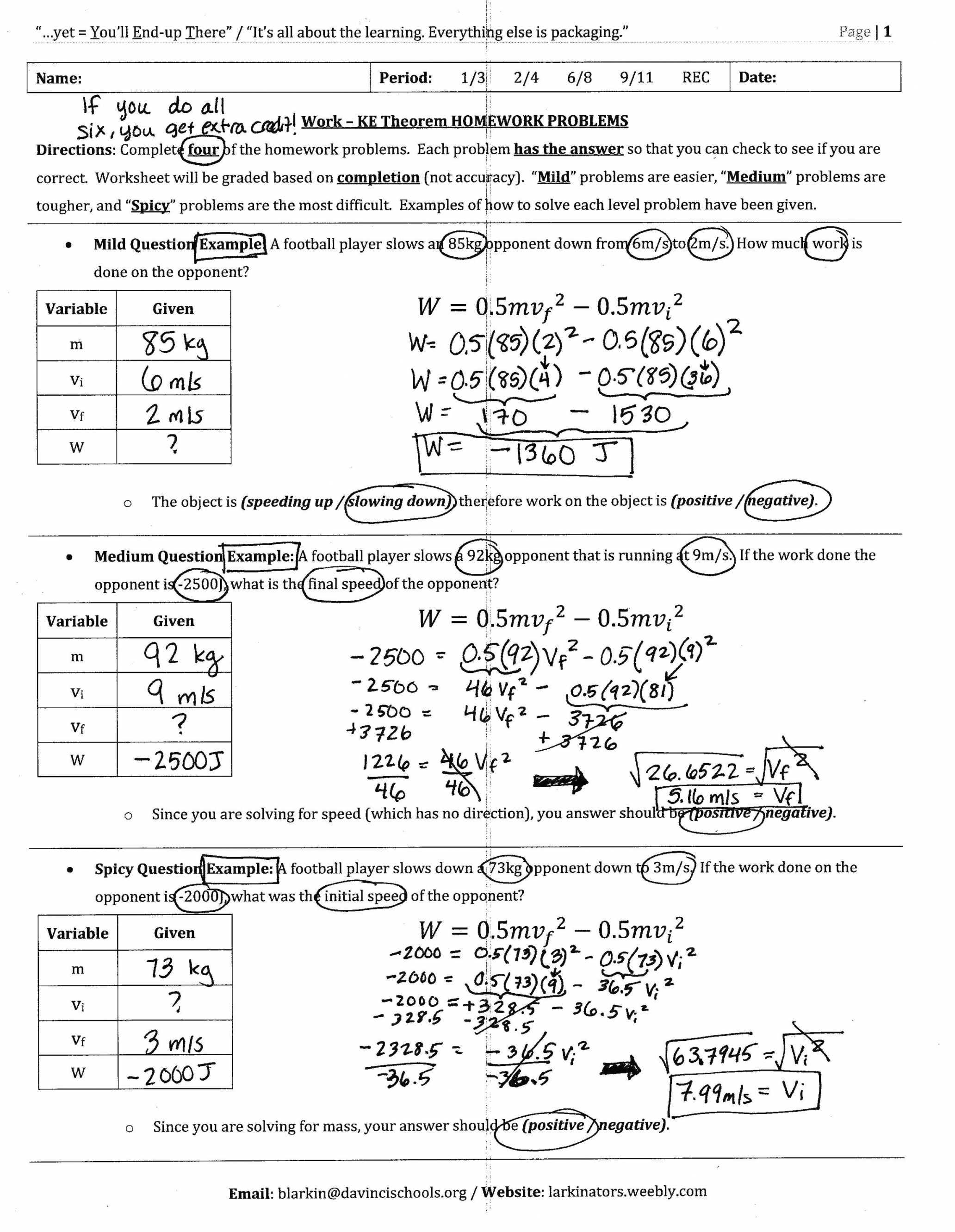 Potential Energy Problems Worksheet with Worksheet Work Energy and Power Worksheet Review Name Period