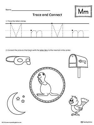 Preschool Letter L Worksheets with Trace Letter M and Connect Worksheet