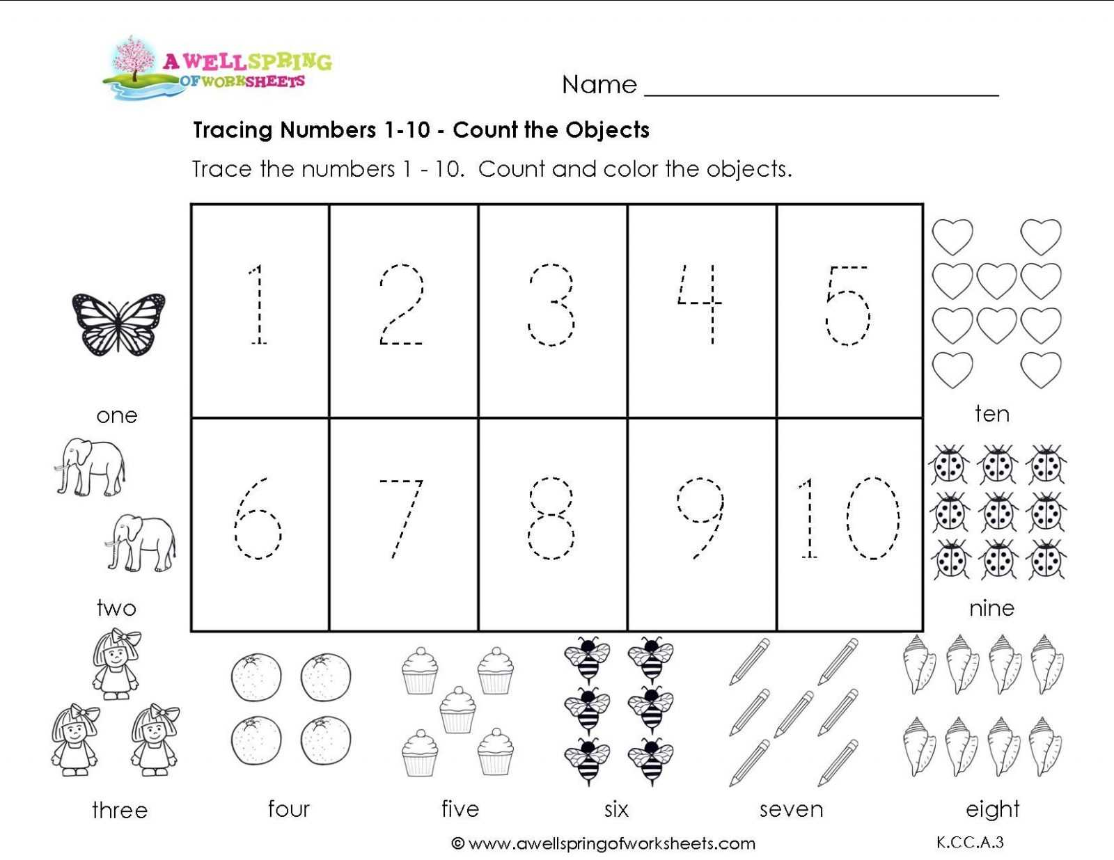Preschool Name Tracing Worksheets with Preschool Number Worksheets Kindergarten Tracingsheets Countingble