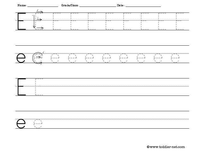 Preschool Writing Worksheets or Letter E Handwriting aslitherair